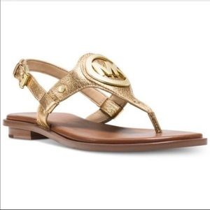 MICHAEL KORS Aubrey Sandals (Metallic Gold)